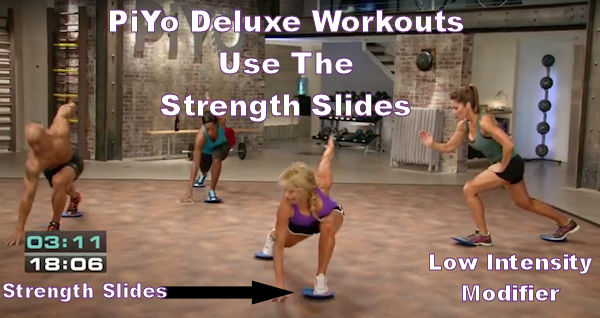 PiYo strength slides are used in the deluxe workouts to increase the intensity of the exercises