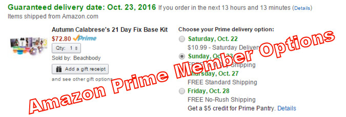 ordering from amazon with prime mebership