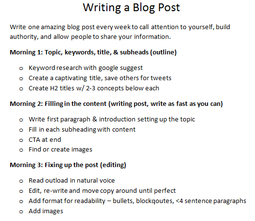 checklist for writing a blog post as coach
