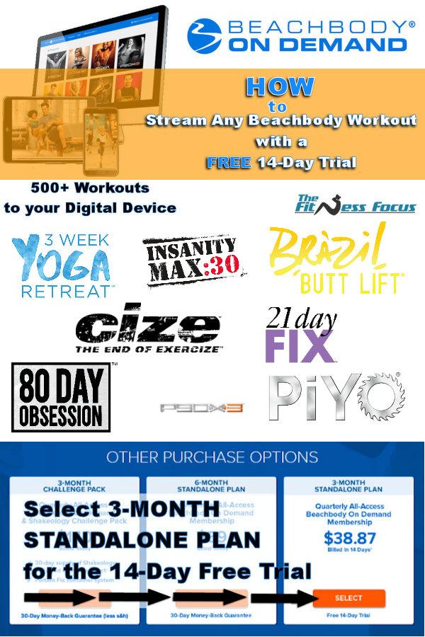How to get a 14-day free trial of Beachbody On Demand to stream workouts by Beachbody. #PiYo #21DayFix #80DayObesseion