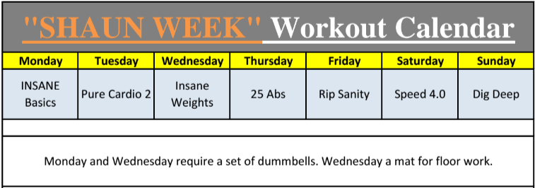 7 day shaun week workout calendar and schedule