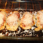 21 Day Fix approved chicken parmesan baking in the oven