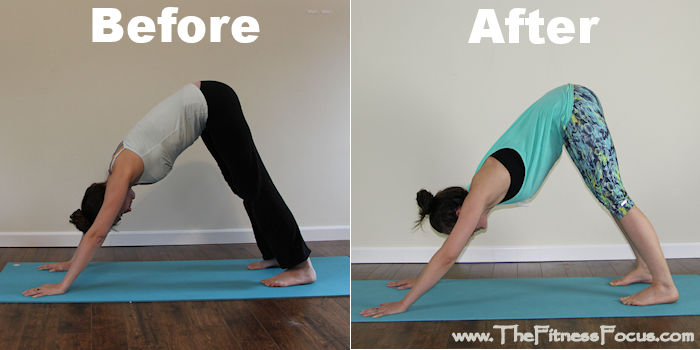 Before and after photos of downward dog
