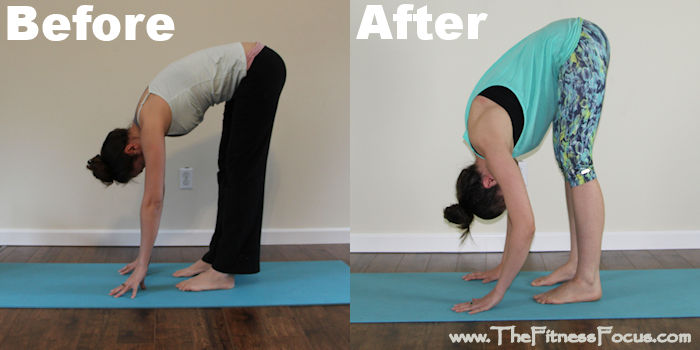 3 week yoga retreat forward fold pose before and after results
