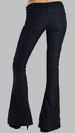 Flare cut jeans in a dark color really slim out your proportions