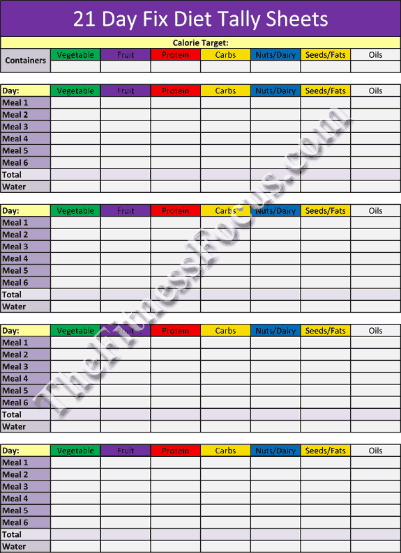 21 day fix diet tally sheets