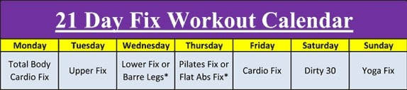 21 Day Fix Workout Schedule by Day