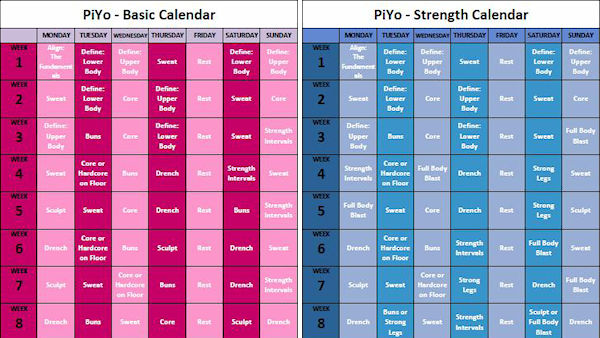 piyo base workout schedule is in pink piyo deluxe workout schedule is in blue