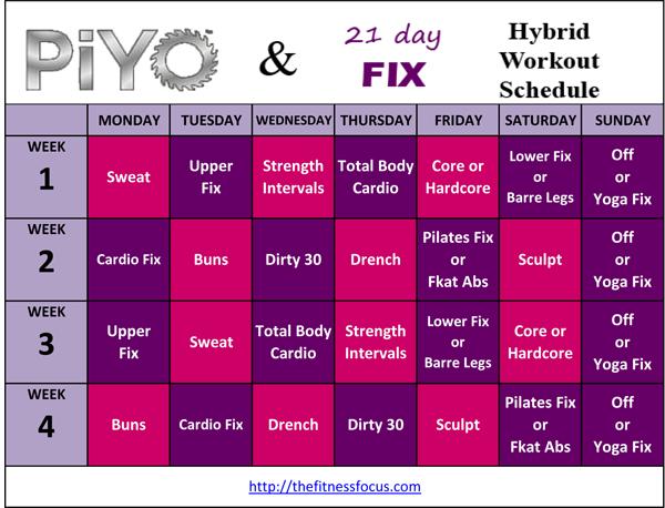 piyo 21 day fix hybrid schedule
