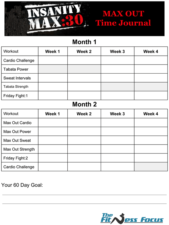 Insanity Max Workout Sheets – Insanity Workout Sheet
