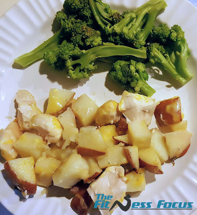 balanced 21-day fix meal of broccoli potato chicken and cheese