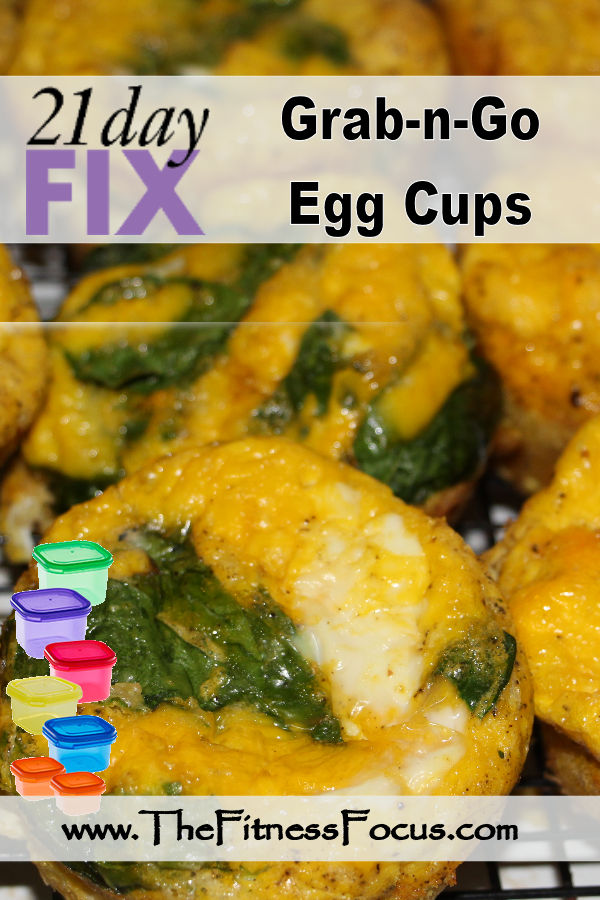 21 day fix approved egg cup recipes made with spinach, turkey bacon, and cheddar cheese.