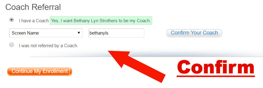 coach sign up referral example