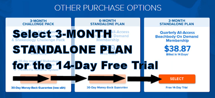 screenshot image of which plan to select for beachbody on demand free trial
