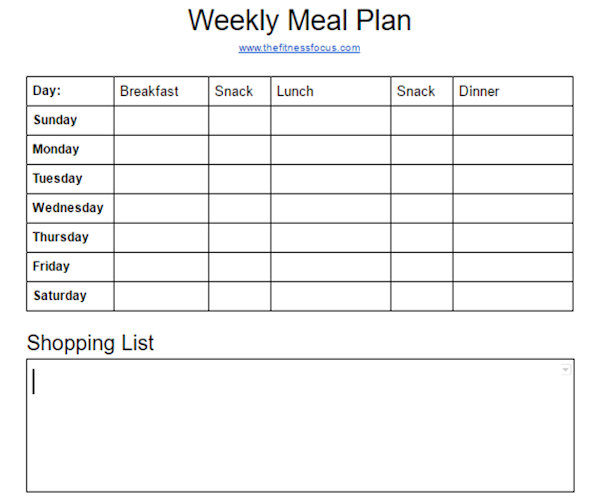weekly meal planner to plan your meals