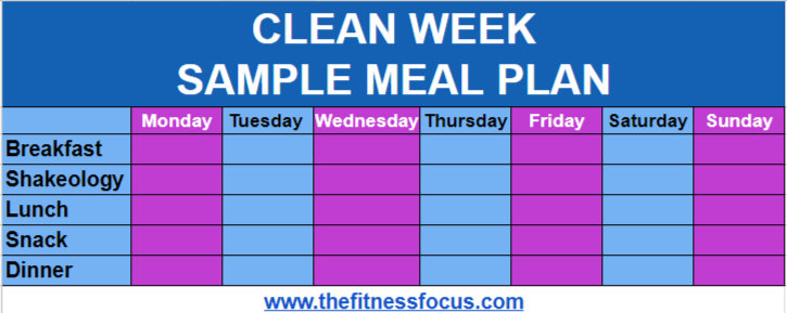 sample meal plan for beachbody s 7 day clean week program the