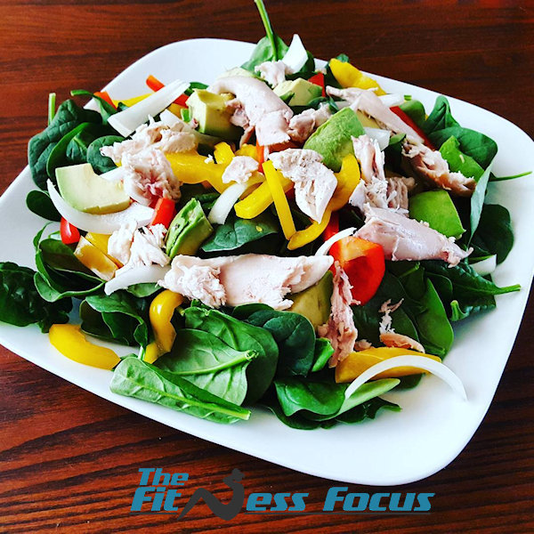 post workout chicken salad with vegetables