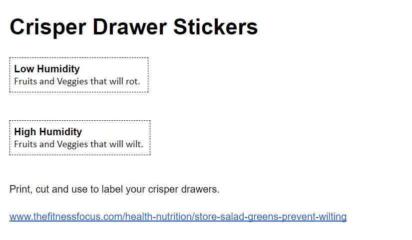 printable labels for crisper drawers