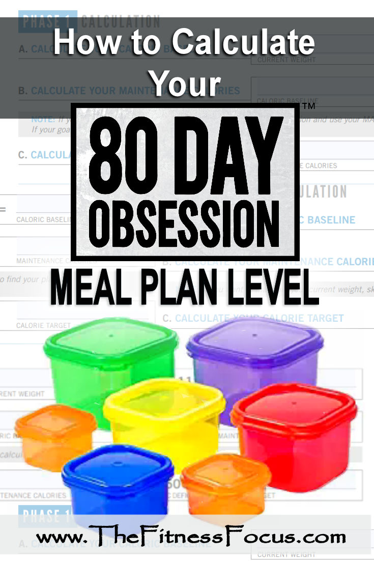 How to calculate your 80 day obsession meal plan level